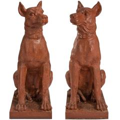 Large Scaled True Pair of French 19th Century Patinated Cast Iron Dogs