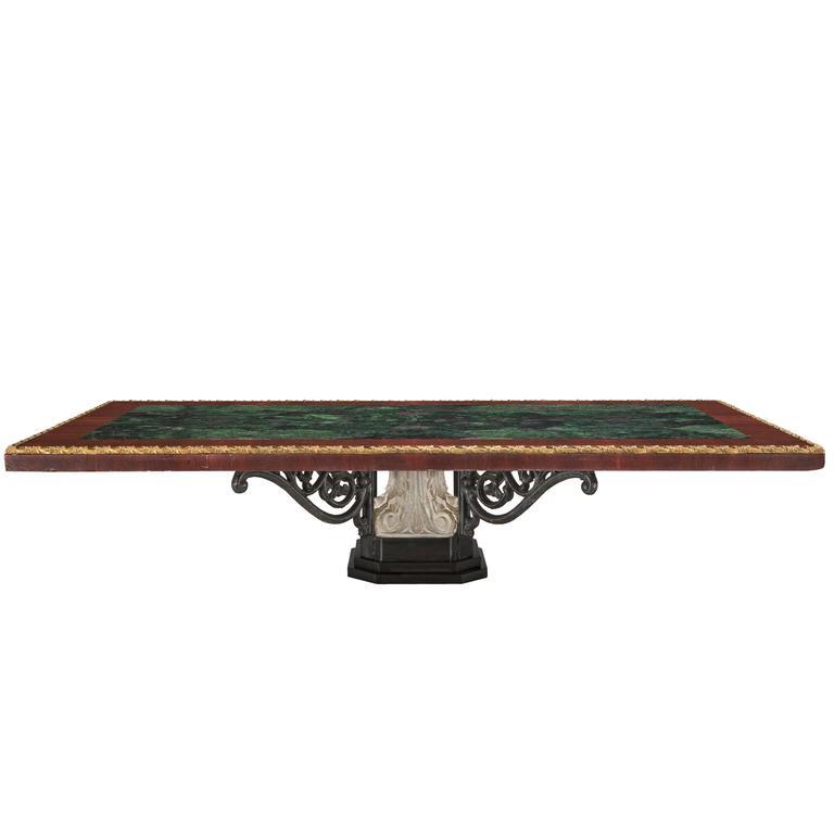 Italian 19th Century Marble, Wrought Iron and Ormolu Coffee Table