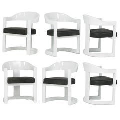 A Set of Six Onassis White Lacquer Chairs Karl Springer