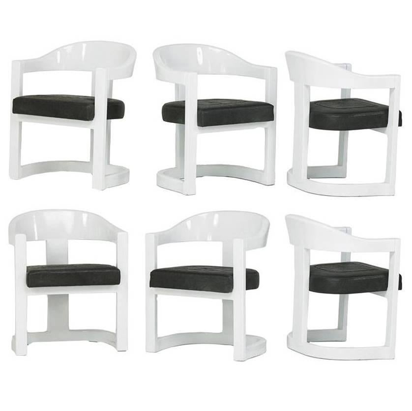 Beau A Set Of Six Onassis White Lacquer Chairs Karl Springer For Sale