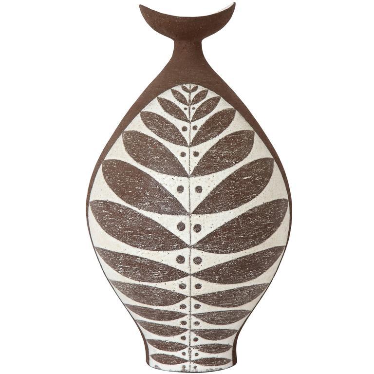 Thomas Toft Ceramic Vase Brown White, Signed, Denmark, 1950s