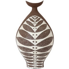 Thomas Toft Vase, Ceramic Brown White, Signed