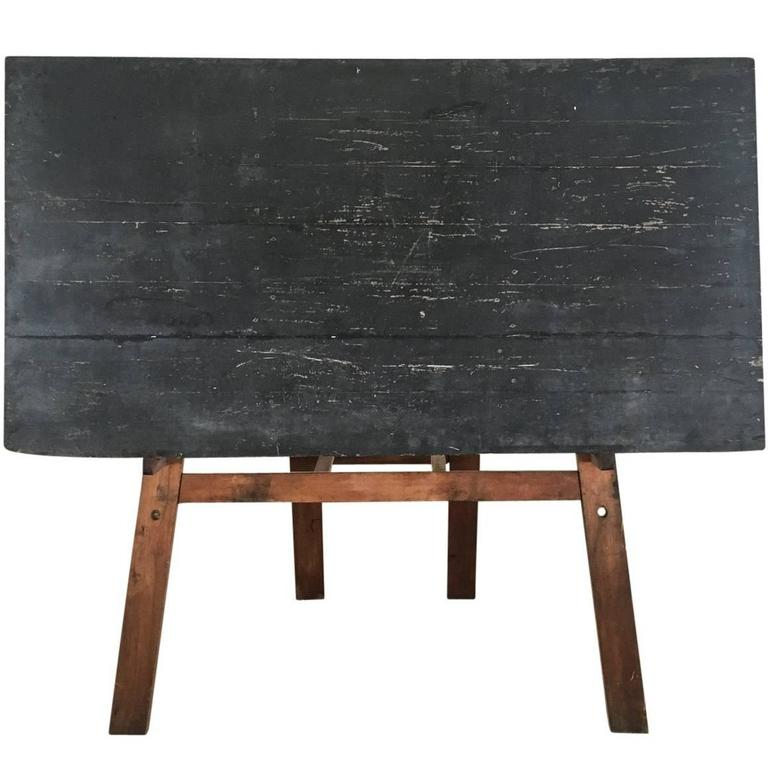 Large Primitive French Chalkboard On Stand At 1stdibs