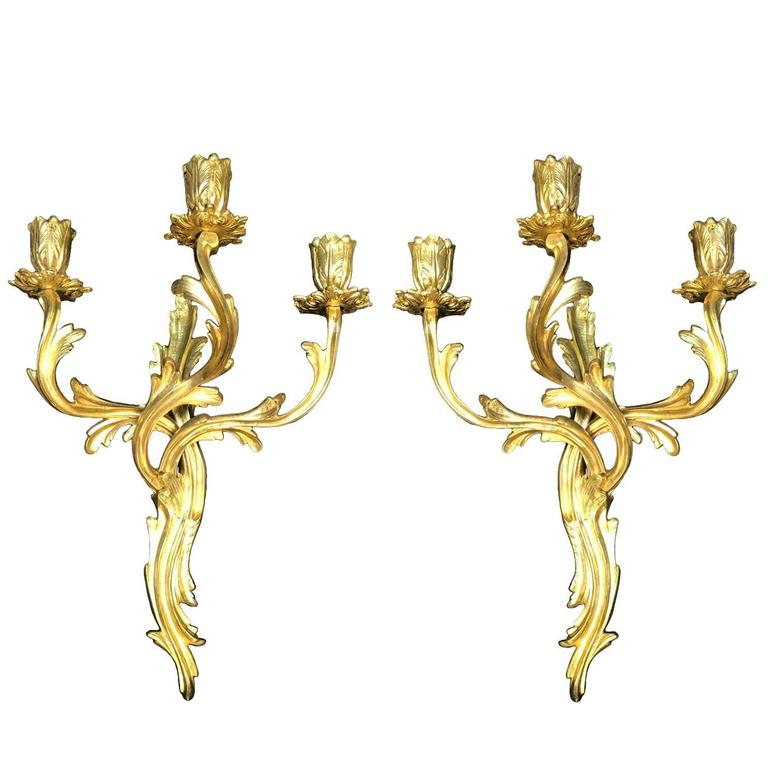 Pair of French Gilt Bronze Sconces Louis XV Style Three-armed Wall Candelabra