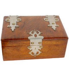 Solid Oak Arts and Crafts Box with Decorative Metal Work, circa 1890