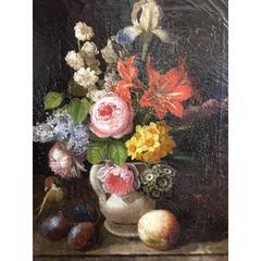Austrian Still Life of Flowers Fruits and Birds Signed Leopold Von Stoll, 1840