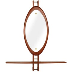Mid-Century Modern Consol and Wall Mirror by Clausen & Son in Teack, 1960s