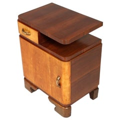 1920s Bedside Table Art Deco in Burl Elm and Rosewood in Gaetano Borsani Manner
