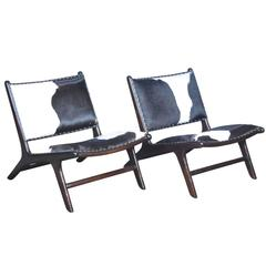 Contemporary Cowhide Marlboro Chairs, Pair