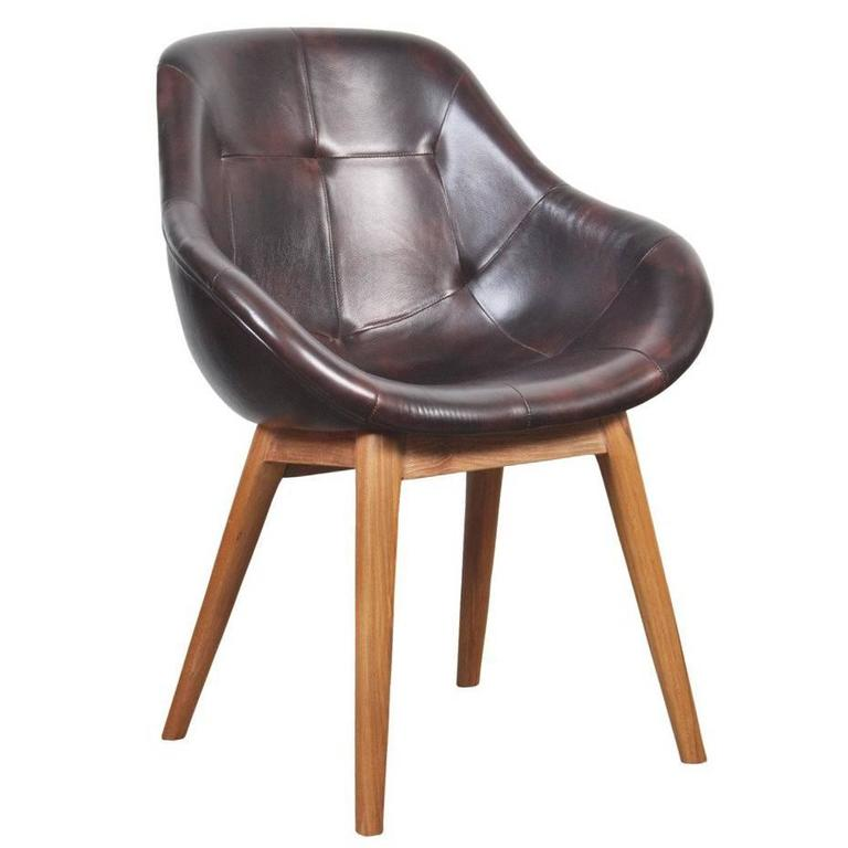 Contemporary leather upholstered bucket chair for sale at for Leather bucket dining chairs