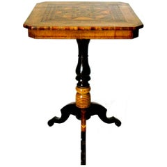 19th Century  Signed Parquetry End / Side Table, Sorrento Italy Circa 1890