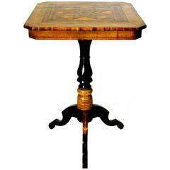 19th Century Signed Sorrento Parquetry End / Side Table, Italy Circa 1890