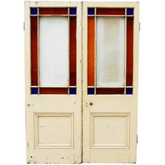 Pair of Victorian Pine Interior Margin Glazed Double Doors