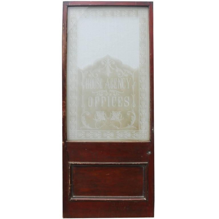Early 20th Century Mahogany Door with Etched Glass