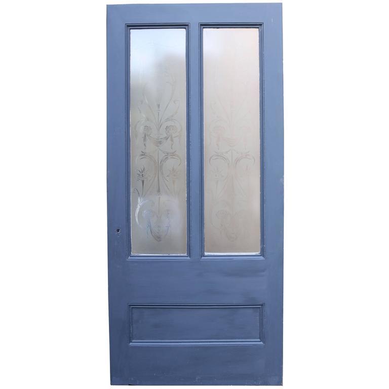 Antique Pine Door with Original Etched Glass 1