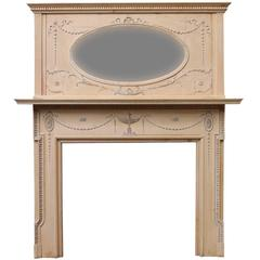 Edwardian Pine and Composition Fire Surround with Mirrored over Mantel