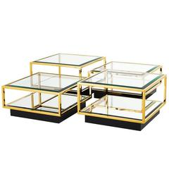 Astra Gold Coffee Table Set of Four in Gold Finish