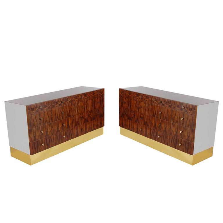 Pair of Mid-Century Modern Rosewood and Brass Dressers or Credenza by Rougier For Sale
