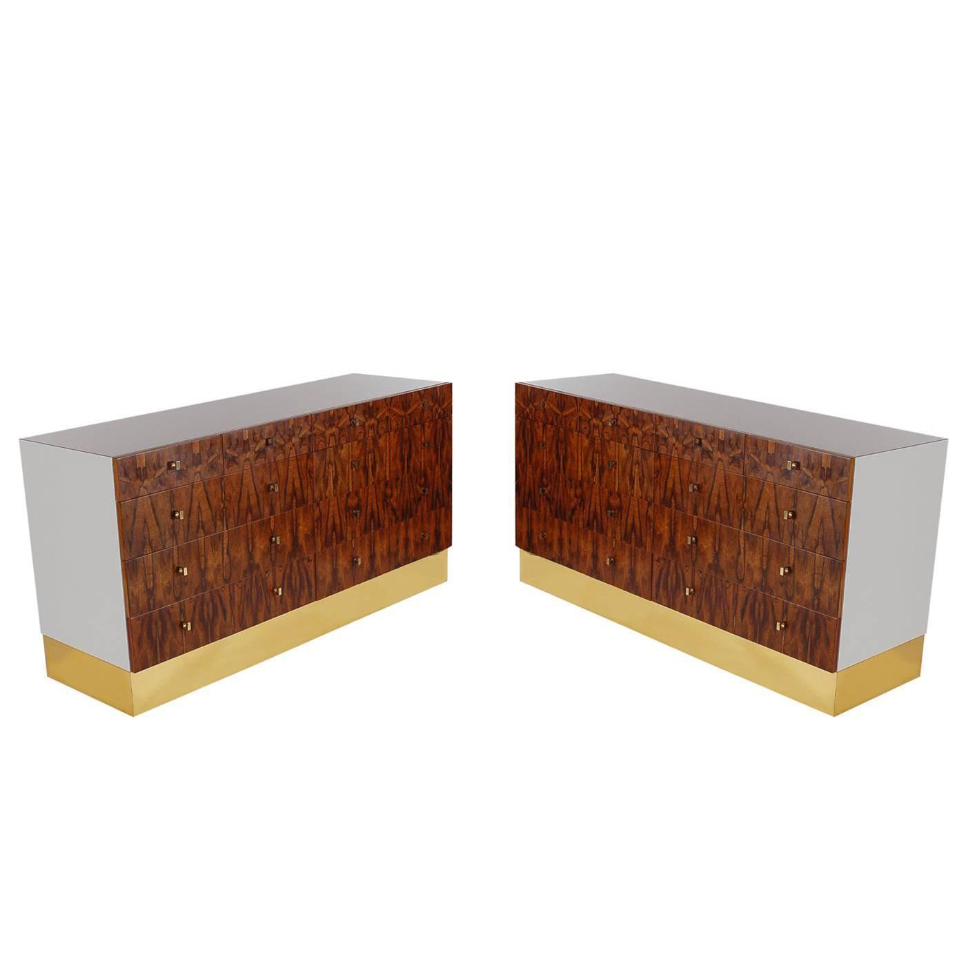 Pair Of Mid Century Modern Rosewood And Brass Dressers Or Credenza By Rougier