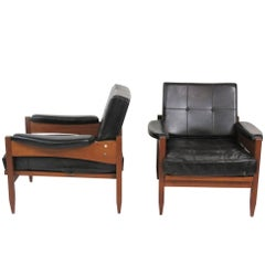 Pair of Danish Modern Tufted Lounge Chairs