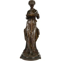 Classical Antique Bronze Statue of a Young Maiden Reading a Book