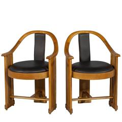 Pair of 1930s Mahogany Art Deco Armchairs
