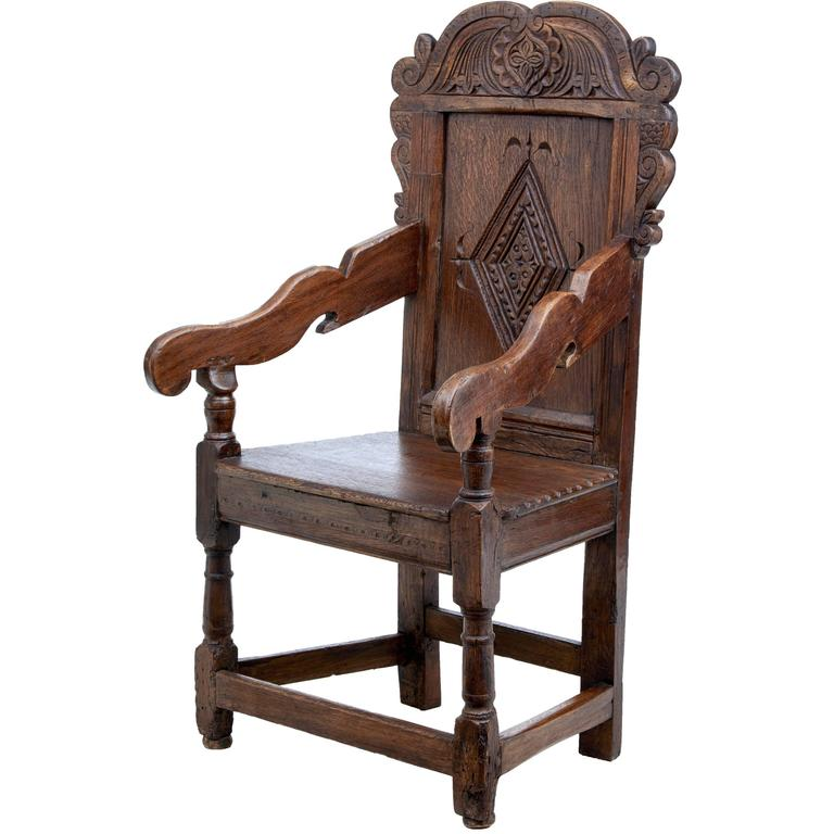 Delightful Late 17th Century Carved Oak Wainscot Chair 1