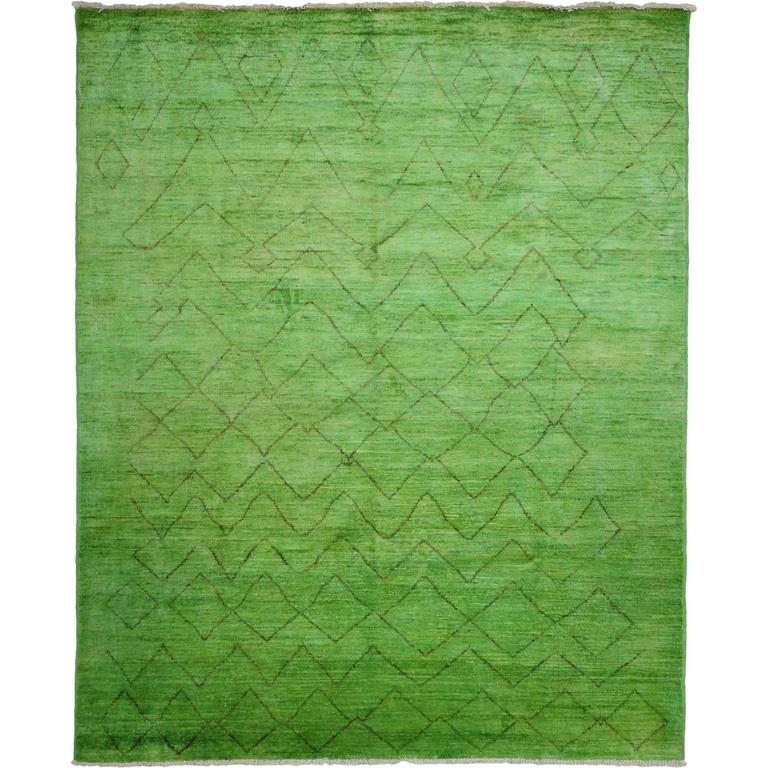 Green Moroccan Area Rug, Solo Rugs For Sale At 1stdibs
