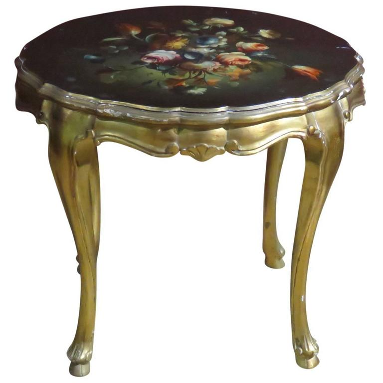Louis XV Style Paint Decorated Floral Side Table
