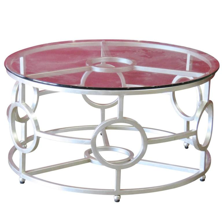 Deco Style Silver Gilt Glass Top Coffee Table For Sale