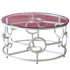 Deco Style Silver Gilt Glass Top Coffee Table