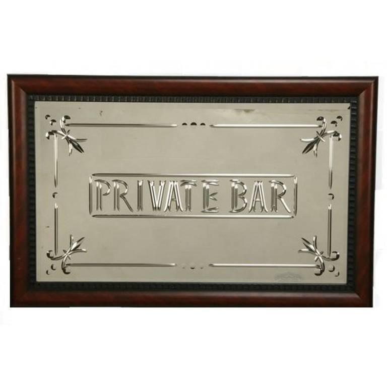 Italian Murano Private Bar Etched Wall Mirror