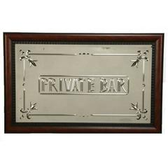 "Italian Murano ""Private Bar"" Etched Wall Mirror"