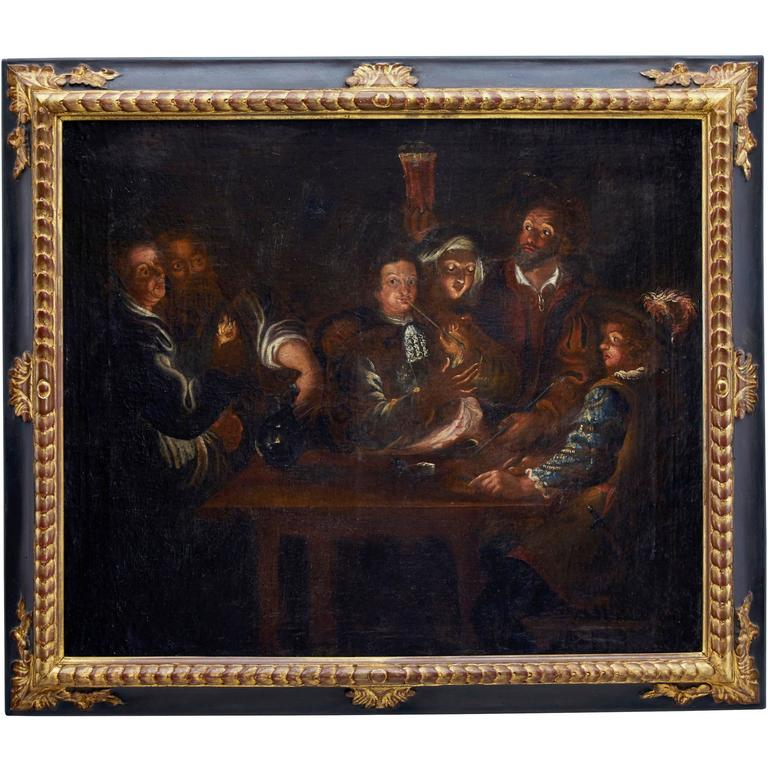 18th Century Flemish School Oil on Canvas Tavern Scene
