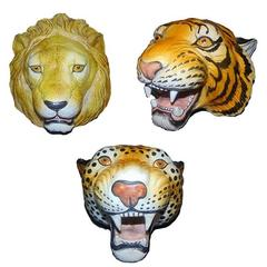 Italian Ceramic Safari Busts, Set of Three