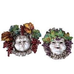 Majolica Busts Wall-Mounted Reliefs, Pair