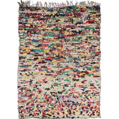 Vintage Moroccan Rag Rug with checkered Design in Multi Colors