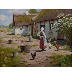 Oil on Canvas, Roald Hansen Idyllic Exterior with Thatched House