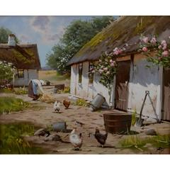 Oil on Canvas, Roald Hansen Born, 1938 Idyllic Exterior with Thatched House