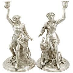 1870s Antique Victorian Sterling Silver Figural Candlesticks