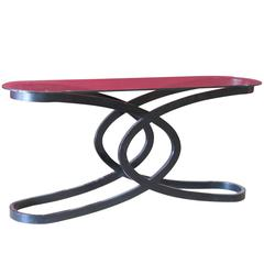 Deco Style Ebonized and Glass top Console Table