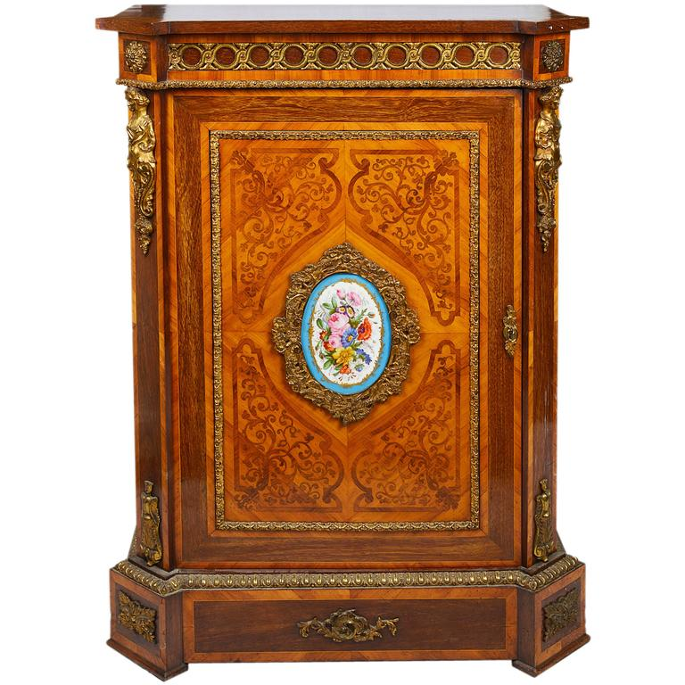 19th Century Marquetry Inlaid Pier Cabinet