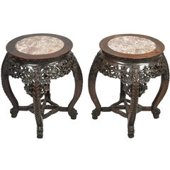 Pair 19th Century Chinese Hardwood Stands