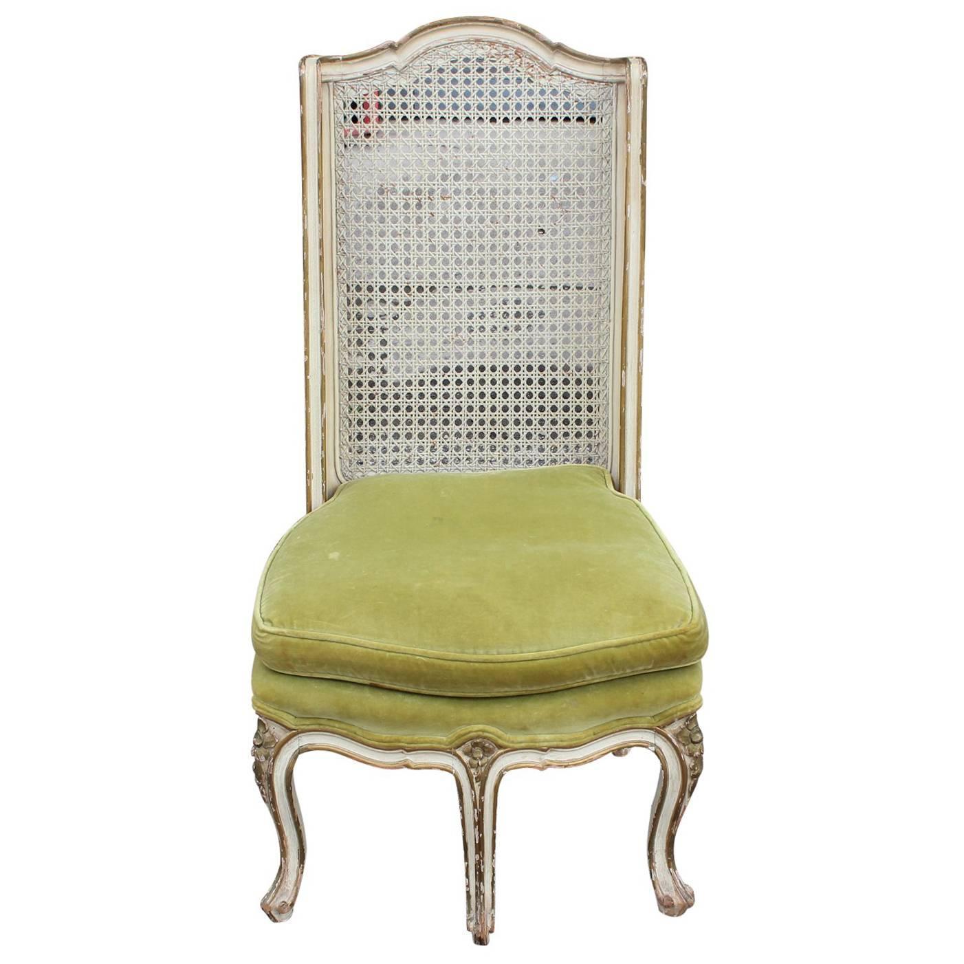 French Louis XIV Five Legged Cane Back Chair in Green Velvet For