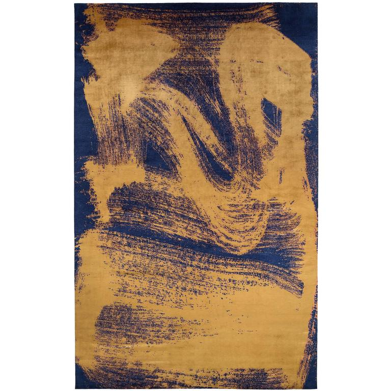 'Chloe', Zen Inspired Contemporary Indigo and Gold Silk Area Rug 1