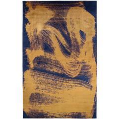 'Chloe', Zen Inspired Contemporary Indigo and Gold Silk Area Rug