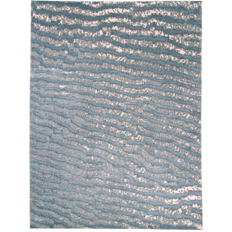 Blue Fish Skin Area Rug Silk and Wool Handwoven For Sale