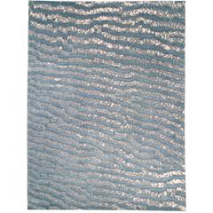 Blue Fish Skin Area Rug Silk and Wool Handwoven