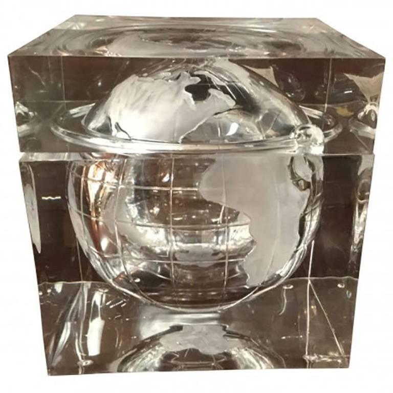 Alessandro Albrizzi Lucite World Globe Form Ice Bucket For