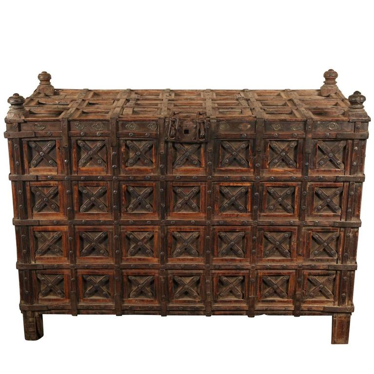 Massive Antique Indian Carved Wood Dowry Chest For Sale - Massive Antique Indian Carved Wood Dowry Chest For Sale At 1stdibs